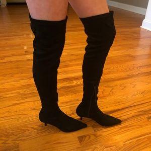 Black Velvet Zara Trafaluc Thigh High Boots Sz 6
